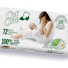 72pc 100% Cotton Baby Wet Wipes
